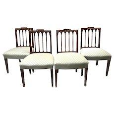 Set of Four 18th c English Side Chairs with Foliate Upholstery