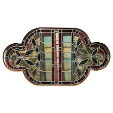Decorative Stained Glass Leaded Window in Wooden Frame
