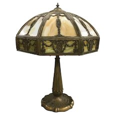 Early 20th c 16-Panel Slag Glass Table Lamp, Possibly Empire Lamp Company