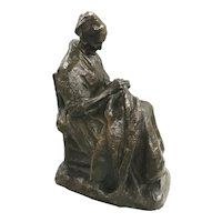 Charles Henri Marie Van Wijk Patinated Bronze of an Old Woman Stitching