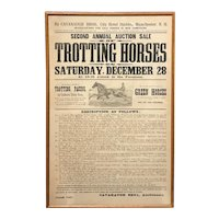 19th c Cavanaugh Bros Advertising Broadside for Trotting Horses Auction, Manchester NH