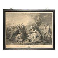 "William Woollett Engraving of the Benjamin West Painting ""Death of General Wolfe"" 1776"