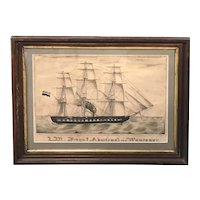 19th c Watercolor of the Dutch Frigate Admiraal van Wassenaar