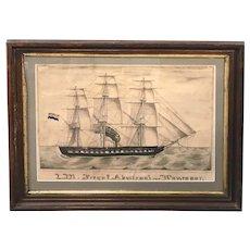 19th c Watercolor of the Dutch Frigate Admiraal van Wassenaar
