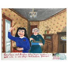 Gayleen Aiken Naive Folk Art Painting, Gawleen & Gayleen with Two Nickelodeons