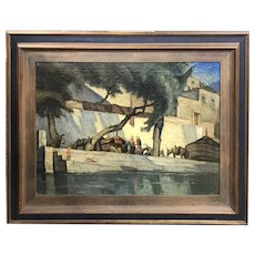 Paul Scortesco Impressionist Mediterranean Town Scene with Figures & Animals