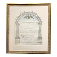 Framed Folk Art Patriotic Pen & Ink Calligraphy from Bedford, NY 1822