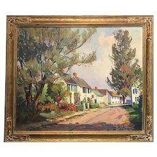 Otis Cook Large Landscape Oil Painting Street Scene, Rockport Street
