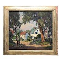 Otis Cook Landscape Oil Painting of a Street Scene