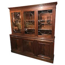 Early 20th c English Two Part Mahogany Bookcase / Paneled Cabinet