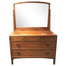 Limbert Oak Arts & Crafts Dresser with Mirror circa 1910