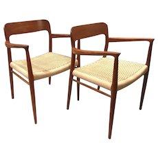 Pair of Niels Otto Møller Mid Century Danish Modern Teak Arm Chairs for JL Møller
