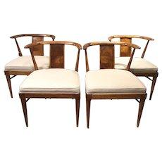 Set of Four Hardwood Mid Century Modern Dining Chairs