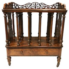 English William IV Burled Walnut Canterbury with Single Drawer