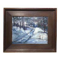 John Joseph Enneking Winter Landscape Oil Painting, Woodstock Road