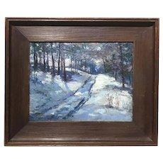 John Joseph Enneking Winter Landscape Oil Painting, Woodstock Road