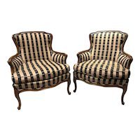 Pair of French Style Fruitwood Bergere Chairs in Bold Striped Upholstery