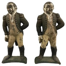 19th / 20th c  Pair of Figural Polychrome George Washington Andirons
