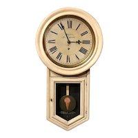 Late 19th c Ansonia Folk Art Painted Regulator Clock, White's Ice Cream