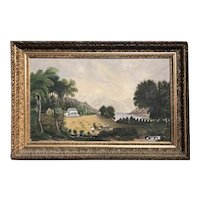 19th c Primitive American School Oil Painting of a Farm Scene Haying