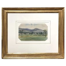 Edward Clarke Cabot Watercolor Landscape Painting, Andover From The Intervale, 1877