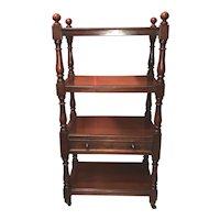 19th c English Mahogany Four-Tier Etagere with Drawer