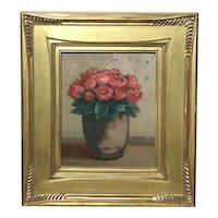 Donna Harkins Still Life Oil Painting, Rose Bouquet in Vase