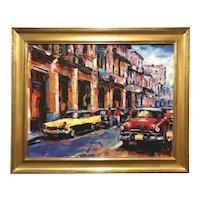 Alexi Leyva Cuban Impressionist Oil Painting #2 with Vintage Cars, Habana Vieja