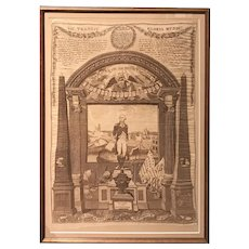 Rare Memorial Textile of George Washington by C. Gray, Glasgow, 1819
