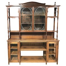 English Art Nouveau Walnut Étagère or Bookcase with Leaded Glass Doors