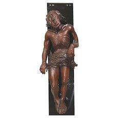 Carved Wooden Body of Jesus Christ on an Ebonized Plinth