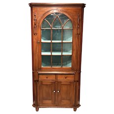 19th Century New Jersey Two Part Cherry Corner Cupboard
