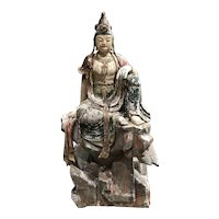 19th c Polychrome Wooden Seated Figure of Guanyin