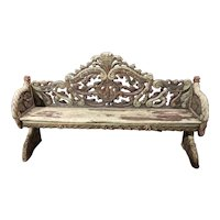 Late 19th c Italian Carved & Polychrome Painted Wooden Bench