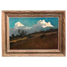 Eric Sloane Landscape Oil Painting with Cowboy on Horse, Lone Summer Rider
