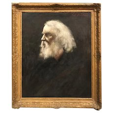 Oil Painting Portrait of Henry Wadsworth Longfellow Signed Bush
