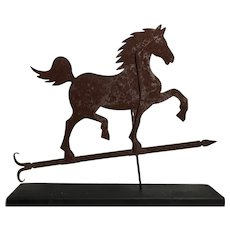 Early 20th Century Sheet Metal Running Horse Weather Vane with Wooden Base