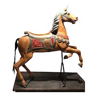 19th Century Polychrome Carved Carousel Horse on Stand