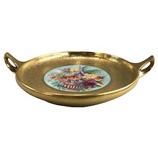 Pickard Handled Dish in Etched 24K Gold with Hand Painted Flowers circa 1919-1922