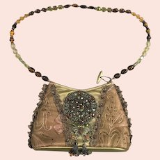 Mary Frances Embellished Woman's Purse with Gold Decoration & Jewelled Strap