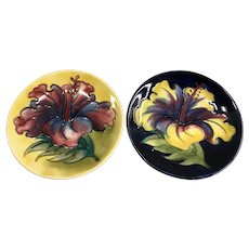 Pair of Moorcroft Art Pottery Blue & Yellow Hibiscus Coasters