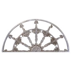 Cast Iron Half Round Gray Painted Architectural Element or Fan Light