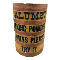 19th / 20th c Calumet Baking Powder Country Store Advertising Display Barrel
