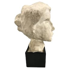 Vintage Plaster Bust of a Woman in a Bennington Pottery Plinth