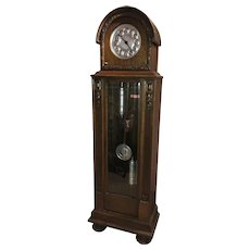 German Oak Domed Top Tall Clock with Silvered Dial