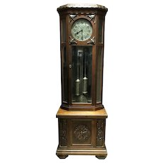 Large German Oak Tall Clock with Molded Flat Top and Silvered Dial