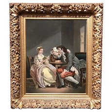 19th Century Nicely Framed  European Interior Genre Oil Painting