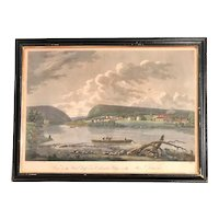 Hand Colored Engraving Print, View of the Water Gap & Columbia Glassworks, After Birch