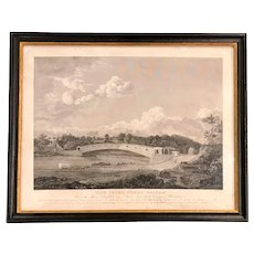 Early 19th c Engraving Print of the Upper Ferry Bridge by Jacob J. Plocher, after Thomas Birch
