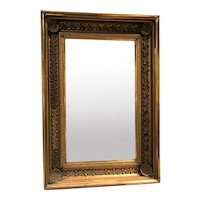 19th c Giltwood Molded Frame Wall Mirror with Shell & Acorn Motif